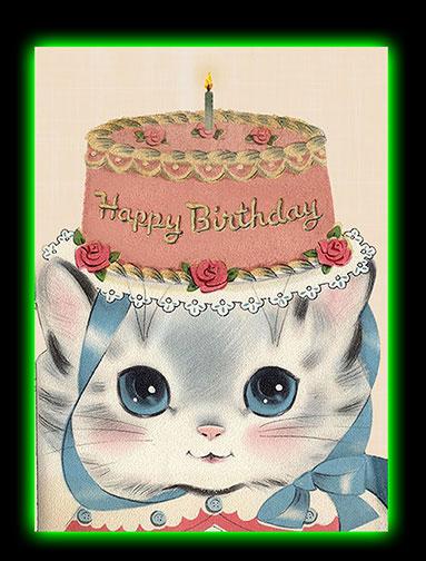 Birthday Hat Kitty Hooligan Ruth Happy Greeting Card